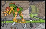akabur_(artist) april_o'neil from_behind michelangelo teenage_mutant_ninja_turtles