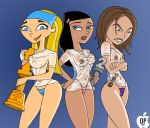 angry big_breasts bikini black_hair blonde_hair blue_eyes bonnie_rockwaller breasts brown_hair danny_phantom dimsumboy22 disney erect_nipples kim_possible lindsay lipstick long_hair looking_back nipples paulina selrock selrock_(artist) small_breasts smile string_bikini total_drama_island wet