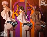 3girls almost_nude arms ass ass_text back bare_back bare_shoulders big_ass big_breasts black_hair bleach blush braid breasts bust butt_crack cheeks chin curvy dark_skin ecchi-enzo_(artist) elbows fat_ass female_only females fingernails fingers gigantic_breasts glasses hair hair_tie hands hands_on_ass hands_on_hips huge_ass huge_breasts isane_kotetsu kotetsu_isane lips lisa_yadomaru mouth neck open_mouth ponytail purple_hair rtenzo_(artist) sexy_body shihoin_yoruichi shihouin_yoruichi shoulders size_difference text thighs topless yoruichi yoruichi_shihoin yoruichi_shihouin