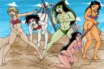 angry archangemon_(artist) argent ass ass_crack beach bikini bikini_pull black_hair blonde_hair blue_eyes bottomless breasts cleavage coppertone crossover dc disney ear_piercing earrings embarrassing funny green_eyes green_hair green_skin hair hanging_wedgie heart jewelry kim_possible lipstick long_hair mandy_luxe mole multicolored_hair piercings purple_eyes red_eyes red_lipstick shego short_hair side-tie_bikini tabitha_smith tan teen_titans topless totally_spies wedgie white_skin x-men x-men_evolution