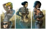 3_girls 3girls alicia_valera anya_stroud armor ass bandaid blonde_hair breasts dark_skin ganassa ganassa_(artist) gears_of_war headband looking_at_viewer midriff multiple_girls pubic_hair pussy samantha_bryne samantha_byrne scar short_hair topless uncensored weapon