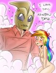 blush breasts closed_eyes crossover friendship_is_magic funny highres long_hair masturbation megasweet multicolored_hair my_little_pony nipples nude pink_background rainbow_dash rocketeer smile sweat the_rocketeer