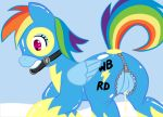 2012 bdsm blue_fur bondage bound cum equine female friendship_is_magic gag hair horse latex long_hair multicolored_hair my_little_pony pegasus pony pussy rainbow_dash skinsuit wings wonderbolts_(mlp)
