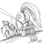 2011 ? anus bandage blush bound butt cutie_mark equine female friendship_is_magic hasbro horse john_joseco looking_at_viewer lying monochrome my_little_pony nurse nurse_redheart nurse_redheart_(mlp) on_side pony pussy solo tail