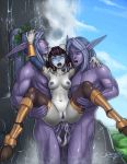 1girl 2boys anal artist_name blue_eyes breasts cum cum_in_ass double_anal double_penetration dr_graevling draenei highres horns monara monster monster_girl multiple_boys multiple_penises night_elf nipples nude penis pointy_ears purple_hair purple_skin sex short_hair tail thighhighs uncensored warcraft water waterfall wet world_of_warcraft