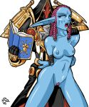 armor blessing_of_protection blue_skin bondage book braided_hair breasts closed_eyes facial_markings hair_beads long_ears navel nipples no_bra no_panties nude open_mouth paladin pink_hair pubic_hair rope troll tusks uncensored warcraft world_of_warcraft you_gonna_get_raped