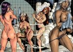 ass big_breasts breasts dark_skin hair jean_grey lite_skin long_hair marvel marvel_girl ororo psylocke purple_hair red_hair rogue shower storm white_hair x-men