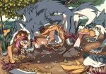 1girl all_fours bent_over bestiality blood blood_on_face breasts open_clothes open_shirt panties panty_pull ragnarok_online rape sex shirt sweat sword tears thief thief_(ragnarok_online) torn_clothes underwear vaginal volvox weapon white_panties wolf