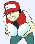 1boy black_hair eggs grin hat mega_milk pokemon red_(pokemon) red_eyes
