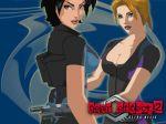 breasts cleavage fear_effect fear_effect_2 gun hana_tsu-vachel hands_on_hip rain_qin weapon