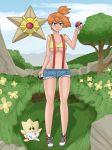 breasts misty pokemon shorts staryu togepi under_boob