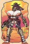 big_breasts breasts cactus cowgirl desert female gun gunslinger hat huge_breasts jaeh lagomorph lapine looking_at_viewer nipples pistol rabbit ranged_weapon skimpy solo sun unconvincing_armor weapon