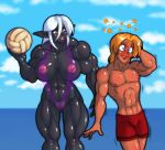 abs ball beach biceps big_breasts breasts bruise clothing dark_elf demien drow elf female hair human humanoid male muscle muscles muscular_female pecs pointy_ears pussy seaside shorts skimpy stars translucent volleyball water what white_hair