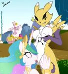 anthro anthrofied blue_eyes breasts canine chest_tuft crown cunnilingus digimon el-loko equine eye_contact facial_markings female fox friendship_is_magic furry hair horn horse interspecies lesbian markings multi-colored_hair my_little_pony nipples nude oral oral_sex outside pink_eyes pony princess_celestia princess_celestia_(mlp) pussy pussylicking renamon saliva sex shock smile standing surprise tongue tongue_out vaginal wet winged_unicorn wings