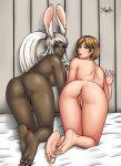2girls animal_ears anus ashe ashelia_b'nargin_dalmasca ass barefoot dark_skin feet final_fantasy final_fantasy_xii fran multiple_girls plump_labia pussy radprofile radprofile_(artist) soles uncensored