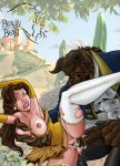 beauty_and_the_beast breasts cum disney kikebrikex_(artist) nipples princess_belle semen stockings tagme the_beast