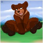 2012 aaron_(artist) bear brother_bear chubby claws cub cute disney feral hair koda male nude open_mouth paws solo testicles young