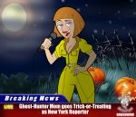 april_o'neil bigtyme breasts cleavage cosplay danny_phantom full_moon halloween jack-o'-lantern jumpsuit lipstick madeline_fenton microphone milf moon pumpkin purple_eyes red_lipstick short_hair solo teenage_mutant_ninja_turtles wide_hips