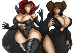 2_girls anthro battletoads big_breasts black_eyes breasts brown_eyes brown_hair canine cleavage cosplay costume dark_queen disney elvira erect_nipples foster's_home_for_imaginary_friends frankie_foster goof_troop hair halloween jaeh long_hair nipples oddrich peg_pete red_hair smile
