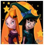 2013 bat black_hair blue_eyes brown_eyes candace_flynn cosplay disney fernando_faria_(artist) halloween long_hair orange_hair phineas_and_ferb smile stacy_hirano star witch witch_hat