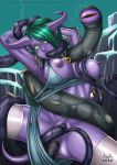 aaa aaaninja_(artist) anal breasts draenei green_eyes green_hair hair_over_one_eye ldl long_hair nipples rape stockings tentacles torn_clothing triple_penetration uncensored world_of_warcraft