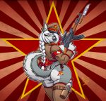 2012 ak-47 akita_stromfield alcohol amber_eyes ass belt big_ass big_breasts big_nipples black_lips black_nose blue_eyes boots bottle bow braid breasts canine clothed clothing color communism dog eltonpot eltonpot_(artist) feather female grey_fur gun hair hammer_and_sickle hat headgear herm heterochromia huge_breasts husky intersex jacket knife lips long_hair looking_at_viewer looking_back nipples panties pose ranged_weapon rifle russian sideboob smile solo soviet standing stockings tattoo thigh_high_boots thighs thong underwear uniform vodka voluptuous weapon white_fur white_hair wide_hips