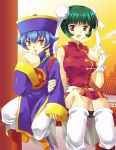 1boy 1girl 2girls bare_shoulders beads beyblade beyblade_metal_fusion big_breasts blue_hair breasts chi-yun_li china_dress chinese_clothes double_bun fingerless_gloves footwear gloves green_hair high_res huge_breasts loose_socks makino_tomoyasu mei_mei mei_mei_(beyblade) metal_fight_beyblade multiple_girls open_mouth purple_eyes short_hair sitting socks sweat