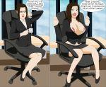avatar:_the_last_airbender avatar_the_last_airbender azula big_breasts breast_expansion breasts brown_hair office_lady surakuraanon