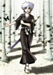 bleach breasts isane_kotetsu short_hair silver_hair sword weapon wilko wilko_(artist)
