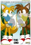 2boys 2males anthro anthro_canine anthro_fox canine character_request child cub digimon father fox fur male male_anthro male_anthro_fox male_only miles_prower mobius_unleashed mostly_nude multiple_boys multiple_male nintendo nude outdoors sonic_(series) standing text web_address web_address_without_path white_fur yellow_fur young