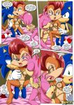 amy_rose anthro bdsm bisexual blaze_the_cat bondage bound breast_grab breast_suck breasts comic dialog female group hedgehog male mobius_unleashed nude penis rouge_the_bat sally_acorn sega sex sonic sonic_(series) sonic_the_hedgehog text threesome vaginal