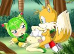 anthro blush canine cosmo cosmo_the_seedrian female fox furry hetero jungle kneeling lying male miles_prower mobius_unleashed penetration penis pussy pussy_juice seedrian sega sex smile sonic_(series) sonic_team spreading vaginal vaginal_penetration