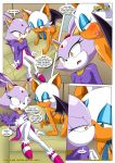 amy_rose anthro blaze_the_cat blush clothing comic dialog kissing mobius_unleashed rouge_the_bat sally_acorn sega sonic sonic_(series) text
