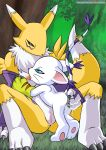 anus ass blue_eyes breast_licking breasts clitoris digimon feet female fingering gatomon nipples pussy pussy_juice renamon spread_legs yuri