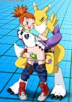 breasts digimon female flat_chest from_behind hairless_pussy interspecies nipples palcomix panties renamon rika_nonaka strap-on yuri