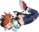 ass bdsm bondage bound digimon digimon_tamers female gag gradient gradient_background makino_ruki solo