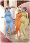 3_girls 3girls aayla_secura absurd_res absurdres ahsoka_tano barefoot barriss_offee blue_skin breasts crimeglass green_skin highres mirialan multiple_girls nipples nude orange_skin pregnant star_wars togruta twi'lek twi'lek uncensored x-teal2 xteal_(artist)