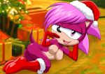 anthro anthrofied areola bbmbbf black_nose boot breasts christmas_hat elbow_gloves female fur furry gloves hair half-closed_eyes hat hedgehog high_res looking_at_viewer lying mammal mobius_unleashed nipples on_side open_mouth palcomix pink_hair purple_eyes purple_fur sega shaded solo sonia_the_hedgehog sonic_(series) tongue