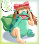 afraid bow brown_hair bulbasaur claws ears edmol female full_body gradient gradient_background hair nail_polish nintendo plant pokemon pokemon_mystery_dungeon solo text tongue transformation translation_request video_game video_games white_background