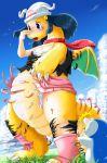 blue_eyes blue_hair dawn dragon dragonite edmol hikari_(pokemon) pokemon scarf tears transformation wings