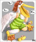 beak edmol feathers green_shirt orange_hair pellican red_eyes sandals shirt transformation webbed_feet