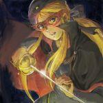 1girl 70s beret blonde_hair blue_eyes bow cape dark hair_bow hat la_seine_no_hoshi long_hair lowres mask oekaki oldschool ponytail rapier sakai_yume simone_(la_seine) simone_(la_seine_no_hoshi) solo sunrise_(company) sword weapon