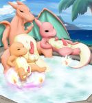 anime big bush charizard charmander charmeleon chubby claws cloud cute dragon drooling fire green_eyes hot_tub lando licking lizard lying mountain naval nintendo open_mouth palm_tree paws penis plant pokemon reptile saliva scalie sea sharp_teeth sitting squint teeth testicles tongue tongue_out video_games water wings young