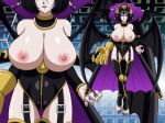 1girl areolae bare_shoulders big_breasts black_hair black_legwear blue_eyes breasts breasts_outside cape choker claws coattails demon_girl demon_wings digimon digimon_xros_wars feet garters gattai_lilithmon gauntlets glamour_works hair_bun hair_ornament hair_up high_collar highres horns huge_breasts knee_pads legs leotard lilithmon lipstick looking_at_viewer makeup nail_polish nipples pointy_ears simple_background solo standing succubus tattoo thighhighs thighs toes topless wings zoom_layer