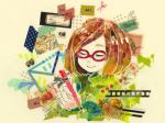1girl bad_id bob_cut brown_hair closed_eyes envelope film_stock film_strip glasses green_shirt hair lowres nikki_(swapnote) nintendo pencil postage_stamp red-framed_glasses scissors shirt short_hair smile solo stamp swapnote sweater turtleneck turtleneck_sweater yubune