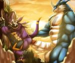abs anal anime armor balls barefoot biceps big big_balls big_penis black_penis blade blue_skin butt circumcised clenched_teeth cloud cursedmarked digimon dragon dragoneer erection exveemon furry gay gloves grass grey_skin holding light lizard looking_at_viewer male muscles nipples nude outside pecs penis plant purple_skin raised_arm red_eyes reptile rock scalie shadow shiny size_difference spikes standing strap sun sunlight teeth white_skin