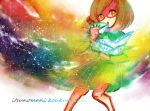 1girl :o bad_id bob_cut brown_hair colorful copyright_name dress envelope glasses knees_together_feet_apart looking_at_viewer lowres nikki_(swapnote) nintendo rainbow red-framed_glasses romaji short_hair solo spectrum star swapnote title_drop yellow_eyes yubune