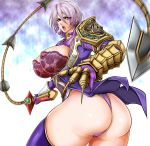 1041_(toshikazu) 1girl armor ass big_breasts breasts curvy earrings green_eyes huge_breasts isabella_valentine jewelry lace large_breasts panties purple_hair see-through short_hair solo soul_calibur soul_calibur_v soulcalibur soulcalibur_v sword thong underwear weapon whip_sword