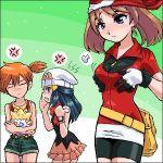 3_girls 3girls bandanna bike_shorts blue_eyes blue_hair breast_envy brown_hair dawn gloves haruka_(pokemon) hikari_(pokemon) kasumi_(pokemon) orange_hair pokemon pokemon_(anime) togepi watch
