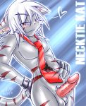 barbs blush cute ear_piercing earring erection feline fingerless_gloves furry gloves grey hair half-closed_eyes heart katsuke katsuke_(character) looking_at_viewer male necktie nude penis piercing red red_eyes sheath solo standing stripes tail testicles white_hair